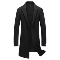 Autumn Korean version of the trend of the double-sided cashmere mens trench coat