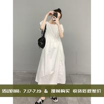 High-end white dress summer niche designer Hepburn style French bubble sleeve large size long dress Childrens summer