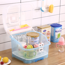 Baby Bottle Storage Box Large portable baby tableware storage cassette cover dustproof leachate dry shelf