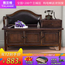 American solid wood change shoe stool shoe cabinet household storage bench european entrance leather shoes can sit