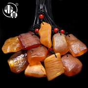 We really natural ore amber Baltic beeswax stone with the form of the original leather small Drop Pendant Necklace
