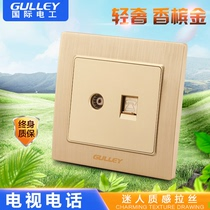 86 type concealed switch socket Champagne Gold wiredraw socket panel closed socket cable TV telephone socket