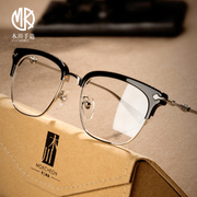 Joker with glasses of pure titanium Pingguang retro half glasses frame female big box with finished glasses for men