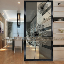 Art glass screen partition living room background wall porch sliding door transparent frosted craft double-sided simple dandelion