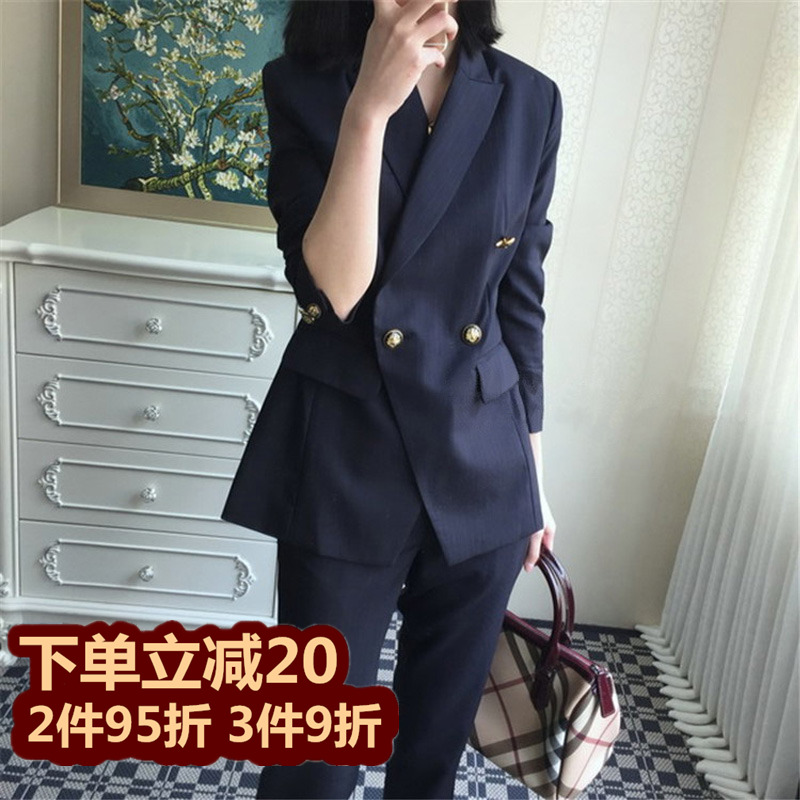 Spring and summer 2021 new small suit suit women Korean version of fashion casual temperament slimming professional OL suit two-piece set
