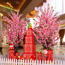 New Years Day scene layout shopping mall paper-cut window decoration simulation firecrackers blessing sitting gun Spring Festival decoration supplies