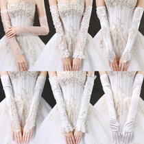 Wedding Gloves 2018 New lace plus long thin bridal wedding dress glove yarn Winter thickened hand sleeves