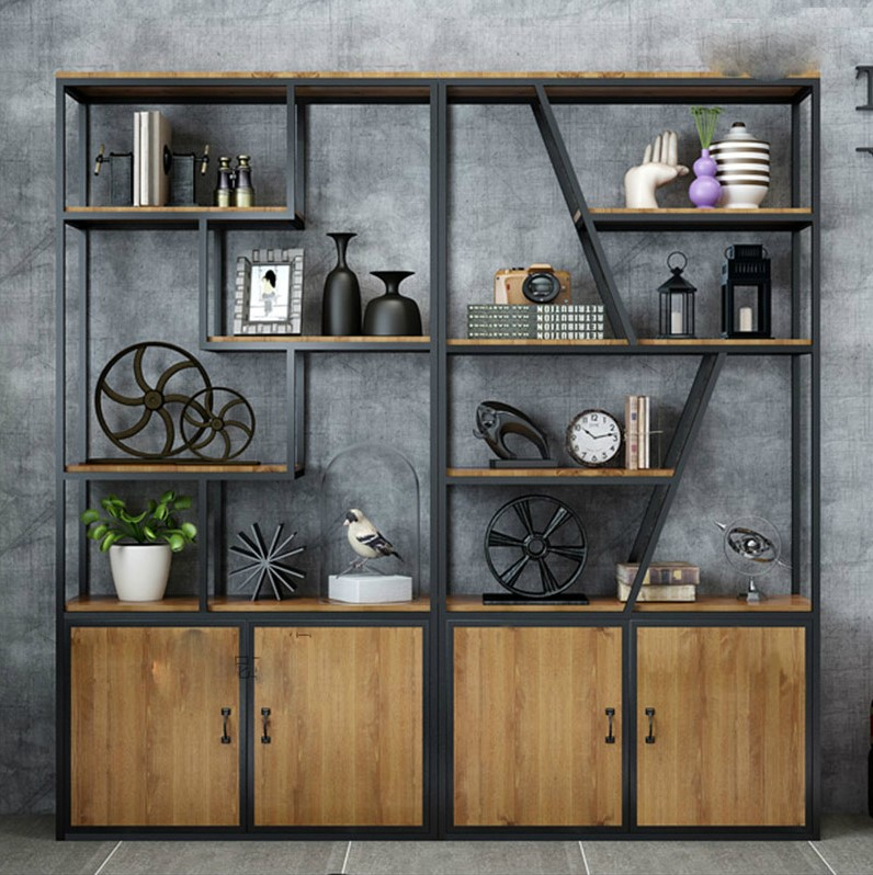 Iron frame living room partition dining room office screen display shelf American solid wood entrance decoration rack