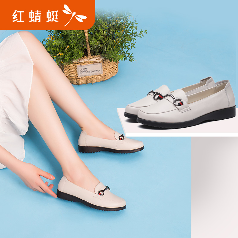 Red 蜻蜓 leather women's shoes 2018 summer new genuine set of feet casual comfort peas shoes fashion shoes
