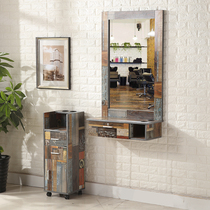 Creative Mirror Table barber shop retro simple mirror hair floor mirror hanging wall mirror table with drawer