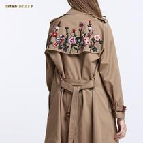 Miss Sixty flower beaded lapel double breasted trench coat