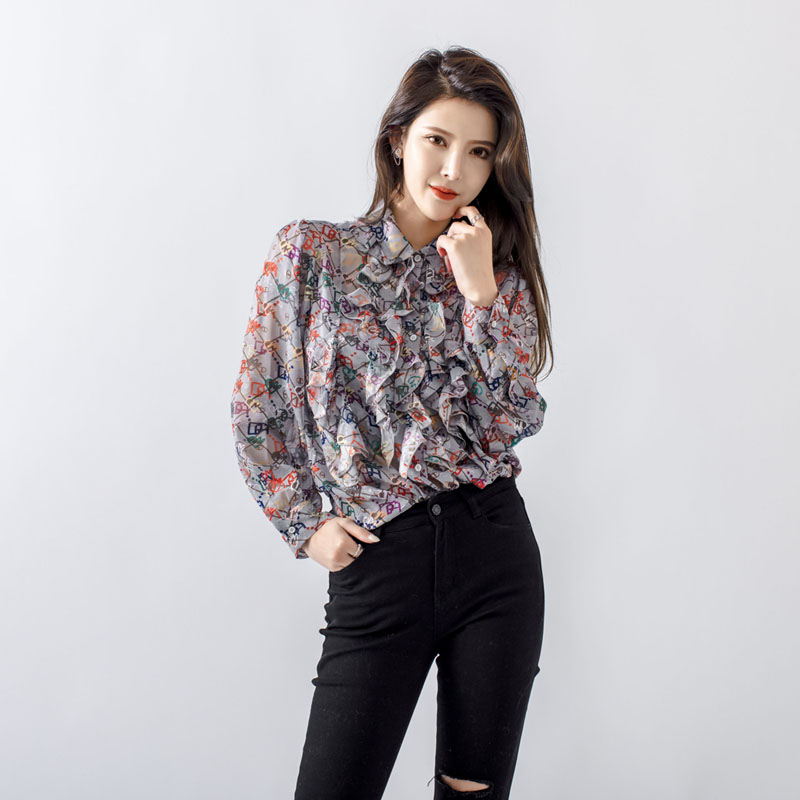 Enshing 2020 winter dress new ancient letter print wood ear-length collared shirt female 2C4C424