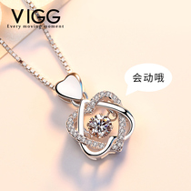 925 beating heart sterling silver necklace womens Tide set Swarovski zircon clavicle chain ins simple pendant net red