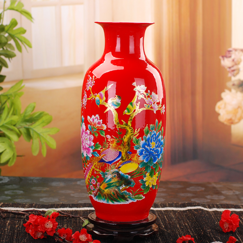Jingdezhen Ceramic Vase Chinese Red Porcelain Arrangement Living Room Studio TV Cabinet Decoration Marriage and Relocation Gift