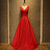 Summer Banquet red wedding wedding gown