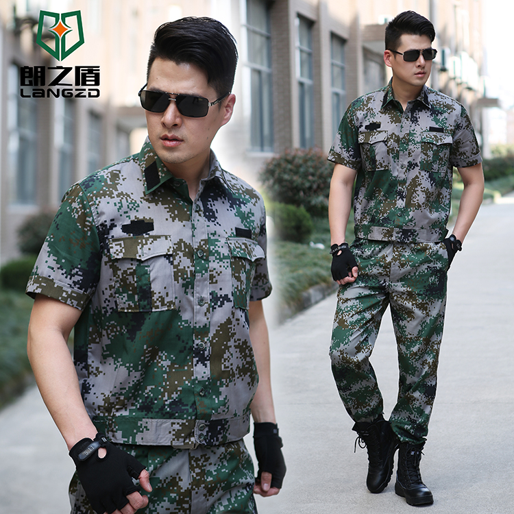 Outdoor summer short-sleeved camouflage uniform training men and women jungle camouflage military training suit suit breathable overalls uniform