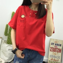 Red t-shirt short-sleeved 2018 new loose Korean students summer clothes wild shirt half-sleeved ulzzang