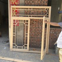Dongyang wood carving antique doors and windows Solid wood flower grid Chinese partition entrance screen decoration hollow flower window grille customization