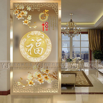 Art glass entrance aisle background wall carving shoe cabinet living room partition wall carving process Magnolia fu screen