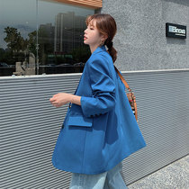 Blue loose suit jacket female casual Korean version 2021 new net red design sense spring and autumn small suit top
