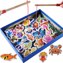 Children baby wooden magnetic double pole fishing toys infants small boys and girls fish cognition 1-2-3-6 years old.