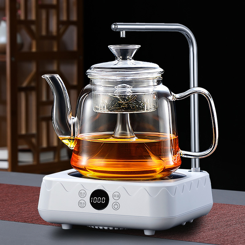 Black crystal stove brewing tea glass steaming teapot tea maker fully automatic water resistant to high temperature white tea tea maker home set