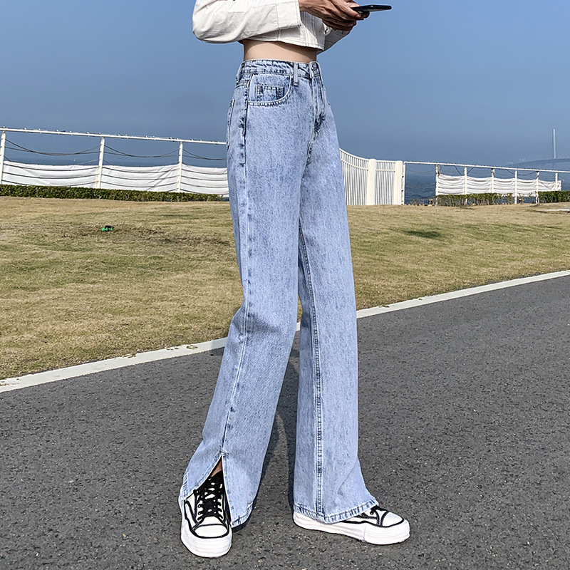 Jeans women 2021 new spring and summer light-colored loose-fitting straight leg pants high waist thin open fork dad pants