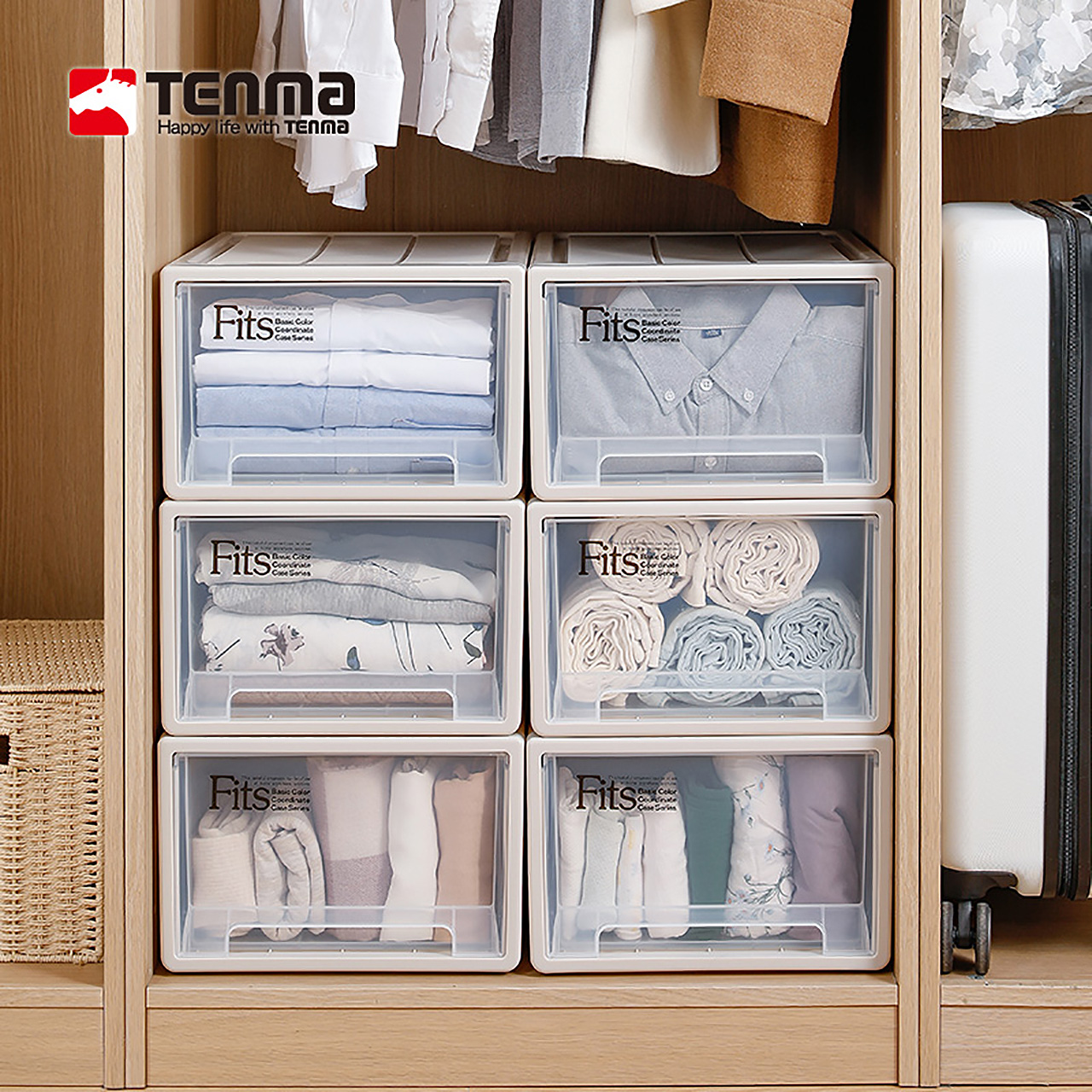 (Via recommended) tenma Japan Tianma Co. Ltd. drawer-type storage box plastic finishing box 3 packs