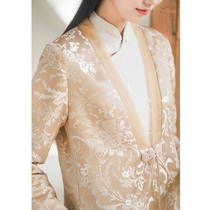 Chicada new coat Spring and Autumn Winter Tang suit womens Chinese style Zen improved Hanfu windbreaker Chinese style high-end tea suit