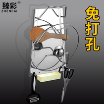 Kitchen wall hanging pot cover rack with water tray free punching 304 stainless steel kitchen hanging wall storage shelf