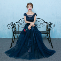 Banquet company annual Meeting fashion show thin one word collar evening dress