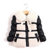 Girls coat winter 2016 new children's clothing thickened imitation fur coat fur collar jacket.