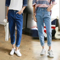 Fashion Korean version of autumn and winter students loose blue jeans