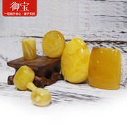 Natural amber beeswax stone grinding barrel bead beads three yellow chicken oil 108 bead hand Necklace Pendant