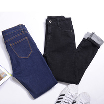 Slim slim thin wool stretch black students feet in autumn and winter pants