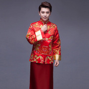 Star with a show of Chinese dress suit Wo Groom Wedding Dress Costume Mens hi men embroidery dragon gown