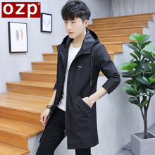 Spring and Autumn 2019 New Men's Jackets Korean Edition Men's Wear Recreational Handsome Long-style Windswear Top Fashion