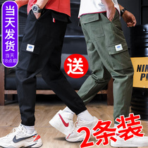 Overalls pants mens Tide brand beam foot loose sports harem pants Spring Spring and autumn section of casual pants Korean version of the trend