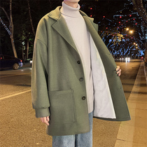 Mao coat male autumn and winter leisure students handsome trend medium-length version of the coat tide brand plus velvet plus thick loose windshield