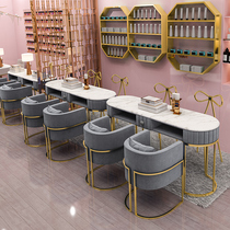 Nordic marble nail art table and chair set Light luxury Japanese single double manicure workbench Special economic type