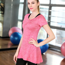 Yoga clothes blouse long section sports T-shirt short-sleeved summer running training breathable sweat quick-drying fitness clothing