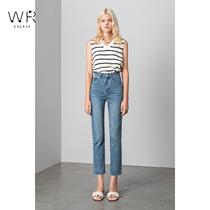 WR straight jeans womens high waist slim slim 2021 new elastic raw edge nine-point straight cigarette tube pants womens summer