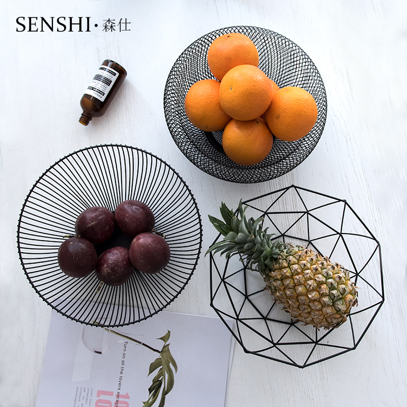 Nordic Simple Geometry Iron Fruit Plate Creative European Decoration Living Room Restaurant Tea Table Fruit Plate Receiving Basket