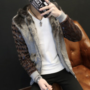 2017 new men's male fur leather Leather Biker jackets fur coat slim handsome young.