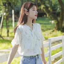 Floral chiffon shirt womens fashion Western style short-sleeved 2021 summer new summer fairy top small shirt temperament