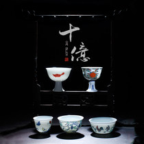 Ningfeng kiln Jingdezhen kung fu tea set hand-painted tea cup ceramic billion chicken tank cup set gift box