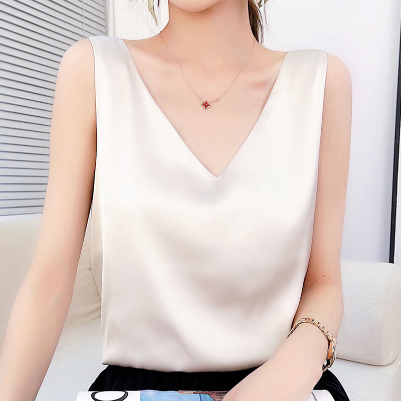 New summer silk camisole women with suit white black base satin mulberry silk loose top