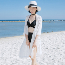Phuket Beach Resort Temperament mid-sleeved cardigan bikini outside with shade blouse sexy side open fork