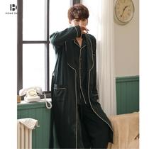 Мужская пижама осень-зима с длинными рукавами хлопок тонкий трехсекционный плюс размер весна-осень длинный халат домашняя одежда халат для мужчин