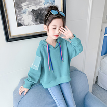 Girls spring and autumn clothing sweater thin section of the new 2020 Korean version of the tide in the large childrens Girl Network red sunshine loose shirt